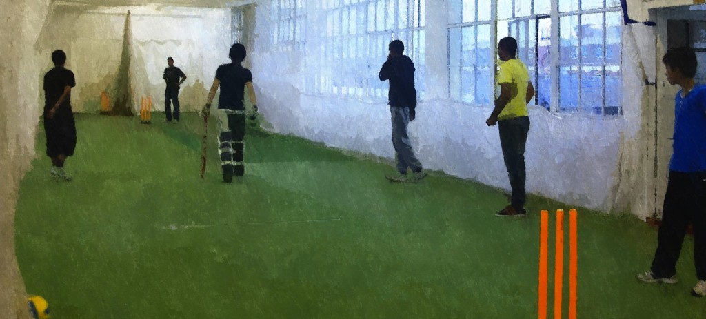 In the nets at Leicester Community Sports- Cricket Academy
